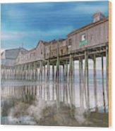 Beautiful Pier Maine Morning Wood Print