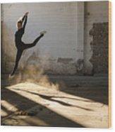 Beautiful Young Ballerina Dancing In Wood Print