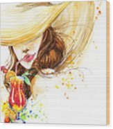 Beautiful Young Woman With Fruit Wood Print
