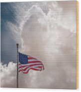 Beautifully Waves - U S Flag And Clouds Wood Print