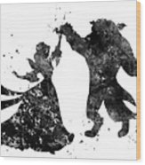 Beauty And The Beast Dancing Wood Print