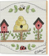 Beehive With Birdhouse Wood Print