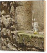 beer bottle left in old lane in Edinburgh Wood Print