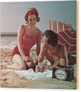Beer On The Beach Wood Print
