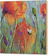 Bees And Poppies Wood Print