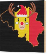 Belgium Christmas Hat Antler Red Nose Reindeer Wood Print