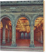 Bethesda Terrace In Central Park - Hdr Wood Print