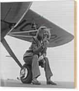 Bette Davis With Airplane, 1947 Wood Print