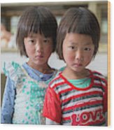 Bhutan Twins Wood Print