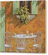 Bianco Su Giallo Wood Print