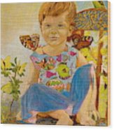 Bianka And Butterflies Wood Print