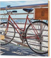 Bicycle At The Beach Wood Print