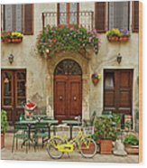 Bicycle In Front Of Small Cafe, Tuscany Wood Print
