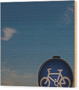 Bicycle Sign With Sky Wood Print