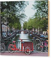 Bicycles Parked On Bridge Over Wood Print
