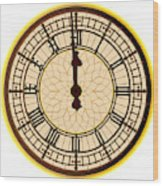 Big Ben Midnight Clock Face Wood Print