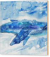 Big Blue Whale And Water.watercolor Wood Print