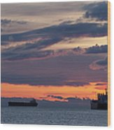 Big Boat Silhouettes Wood Print