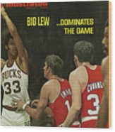 Big Lew . . . Dominates The Game Sports Illustrated Cover Wood Print