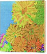 Biggie Flowers Sky Wood Print