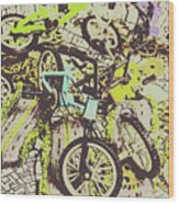 Bikes And City Routes Wood Print