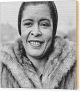 Bilie Holliday Wearing Fur Coat Wood Print