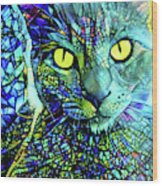 Binx The Stained Glass Cat Wood Print