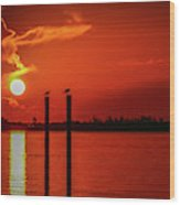 Bird On A Pole Sunrise Wood Print