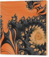 Black And Orange  Swirls Wood Print
