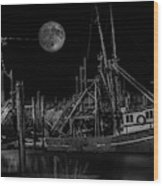 Black And White Art Fishing Boat And Full Moon Wood Print