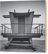 Black And White Lifeguard Stand In Wood Print