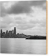 Black And White Panorama Of Seattle Skyline Reflected On The Bay Wood Print
