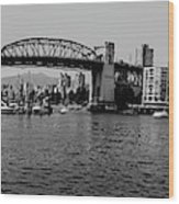 black and white panorama of Vancouver from plaza of nations showing the beautiful city Wood Print