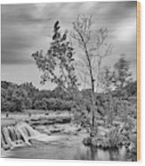 Black And White Photograph Of Link Falls At Bull Creek District Park Greenbelt - Austin Texas Wood Print