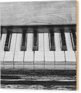 Black And White Piano Wood Print