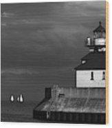 Black And White Regatta On Lake Superior Wood Print