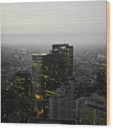 Black And White Tokyo Skyline At Night With Vibrant Selective Yellow Colors Wood Print