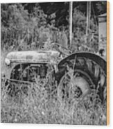 Black And White Tractor Wood Print