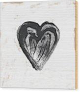Black Heart- Art By Linda Woods Wood Print