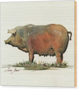 Black Iberian Pig Wood Print