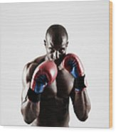 Black Male Boxer In Boxing Stance Wood Print