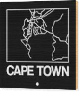 Black Map Of Cape Town Wood Print