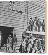 Black Men At Cotton Barn Wood Print