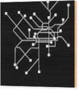 Black Philadelphia Subway Map Wood Print