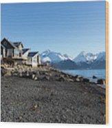 Black Sand Beach In Seward Alaska Wood Print