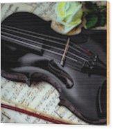 Black Violin On Sheet Music Wood Print
