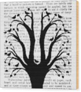 Blackbirds In A Tree - Central Wood Print