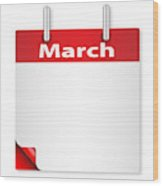 Blank March Date Wood Print