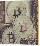 Blocks Of Bitcoin Wood Print