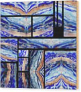Blue Agate Mosaic Watercolor Collage Wood Print
